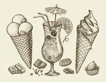 Еда, десерт, питье Вручите вычерченное винтажное мороженое, sundae, шоколад, конфету, коктеиль, лимонад Вектор эскиза бесплатная иллюстрация