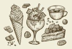 Еда, десерт, питье Вручите вычерченное мороженое, sundae, чашку кофе, чай, торт, пирог, шоколад, конфету Вектор эскиза бесплатная иллюстрация
