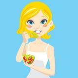еда женщины салата Стоковые Фотографии RF