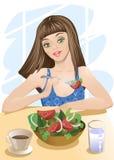 еда женщины салата Стоковое Изображение
