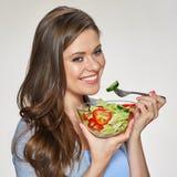 еда женщины салата Изолированный портрет Стоковые Изображения RF