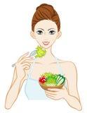 еда женщины салата иллюстрация штока