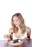 еда женщины суш Стоковая Фотография RF