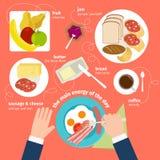 Еда завтрака и значки пить плоские бесплатная иллюстрация
