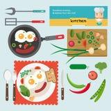 Еда завтрака иллюстрации вектора свежая в квартире Стоковые Фото