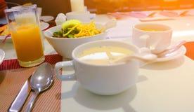 Еда, завтрак, кофе, хлеб, здравица, рис Стоковые Фото