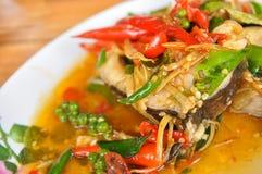 Еда зажаренная рыбами, специи, Таиланд Стоковые Фото
