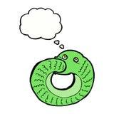 еда змейки шаржа имеет кабель с пузырем мысли Стоковое Изображение