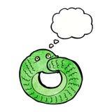 еда змейки шаржа имеет кабель с пузырем мысли Стоковые Изображения RF
