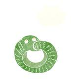 еда змейки шаржа имеет кабель с пузырем мысли Стоковое Фото