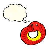 еда змейки шаржа имеет кабель с пузырем мысли Стоковые Фотографии RF