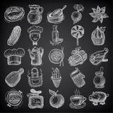 еда 25 значков doodle эскиза на черной предпосылке бесплатная иллюстрация
