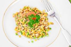 Еда здоровых и диеты: Гарнируйте с чечевицами и чуть-чуть стоковые фотографии rf