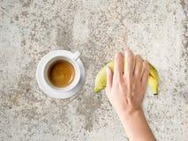 Еда диеты кофе и банана Стоковая Фотография