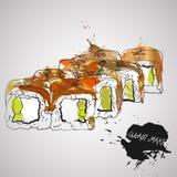 Еда диеты maki Unagi Иллюстрация вектора