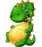 Еда избытка динозавра улыбки шаржа Стоковые Фото