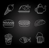 Еда и дизайн ресторана, иллюстрация вектора иллюстрация вектора