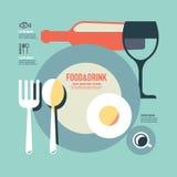 Еда и дизайн шаблона питья современный минимальный плоский/винтажный re иллюстрация штока
