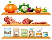 Еда и ингридиенты на полке иллюстрация вектора