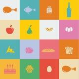 Еда и продукты значков в плоском векторе стиля Стоковые Изображения RF