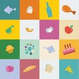 Еда и продукты значков в плоском векторе стиля Стоковые Фотографии RF