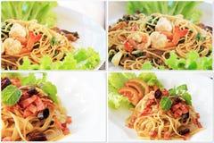 Еда макаронных изделий спагетти в белизне Стоковая Фотография