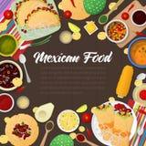 Еда мексиканской кухни традиционная с тако иллюстрация штока