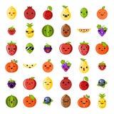 Еда милого банана груши персика лимона клубники кивиа арбуза вишни яблока свежих фруктов улыбки emoji здоровая естественная Стоковое Изображение