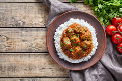 Еда мяса овечки кашевара пряного традиционного индийского masala говядины масла Мадраса медленная с рисом Стоковое Изображение RF