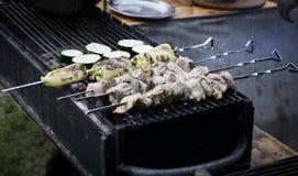 Еда, мясо и овощи улицы гриль Стоковое Изображение