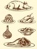 Еда нарисованная рукой Стоковые Изображения RF