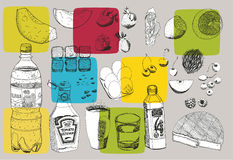 Еда нарисованная рукой Бесплатная Иллюстрация