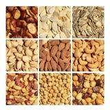еда обрамляет смешанную nuts серию Стоковая Фотография