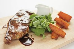 Еда отбивной котлеты овечки Barnsley Стоковое Изображение RF