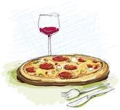 Еда пиццы в ресторане бесплатная иллюстрация