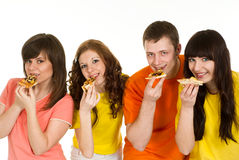 еда пиццы 4 людей Стоковая Фотография RF