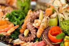 Еда ресторанного обслуживании, продукт моря, конец вверх Стоковые Изображения