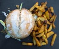еда рыб огурца принципиальной схемы цыпленка сыра бургера предпосылки глубокая зажарила томат сандвича салата старья деревянный Стоковое фото RF