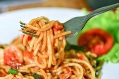 Еда спагетти очень вкусная Стоковое Изображение