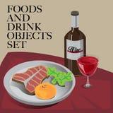 Еда & стейк питья установленный Стоковая Фотография