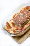 Еда - стейк свинины с испеченными картошками и специями Стоковые Изображения