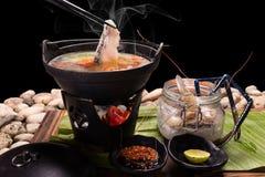 Еда служила в баке Японии где shabu-shabu продукта моря  Стоковое Изображение