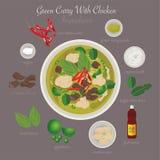еда тайская Зеленое карри с цыпленком Стоковые Изображения