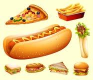 Еда установленная с различным видом фаст-фуда иллюстрация штока