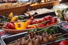 Еда улицы зажженные овощи Стоковое Фото
