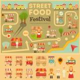 Еда улицы на карте города бесплатная иллюстрация