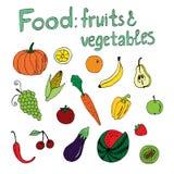 Еда: фрукты и овощи Стоковые Изображения
