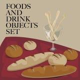 Еда & хлеб питья установленный Стоковое Изображение RF