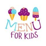 Еда для детей, меню кафа специальное для шаблона знака Promo детей красочного с текстом и помадки Стоковые Фото