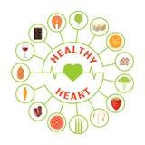 Еда для здорового сердца иллюстрация штока
